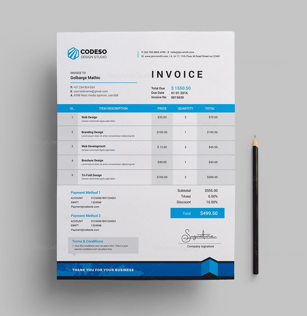 Modern Stylish Invoice 000533 Template Catalog