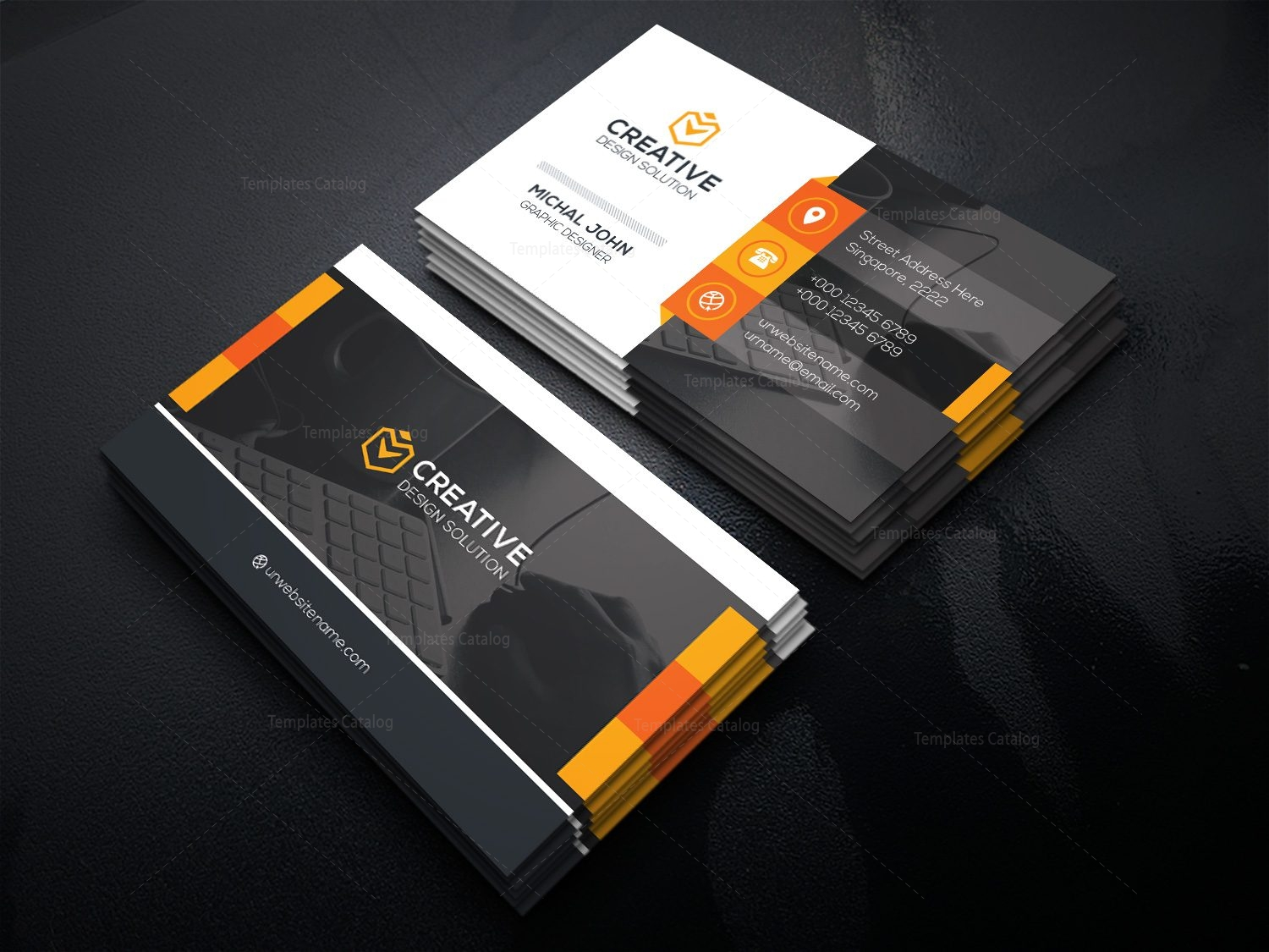 Office Business Card Template Card 000477 - Template Catalog