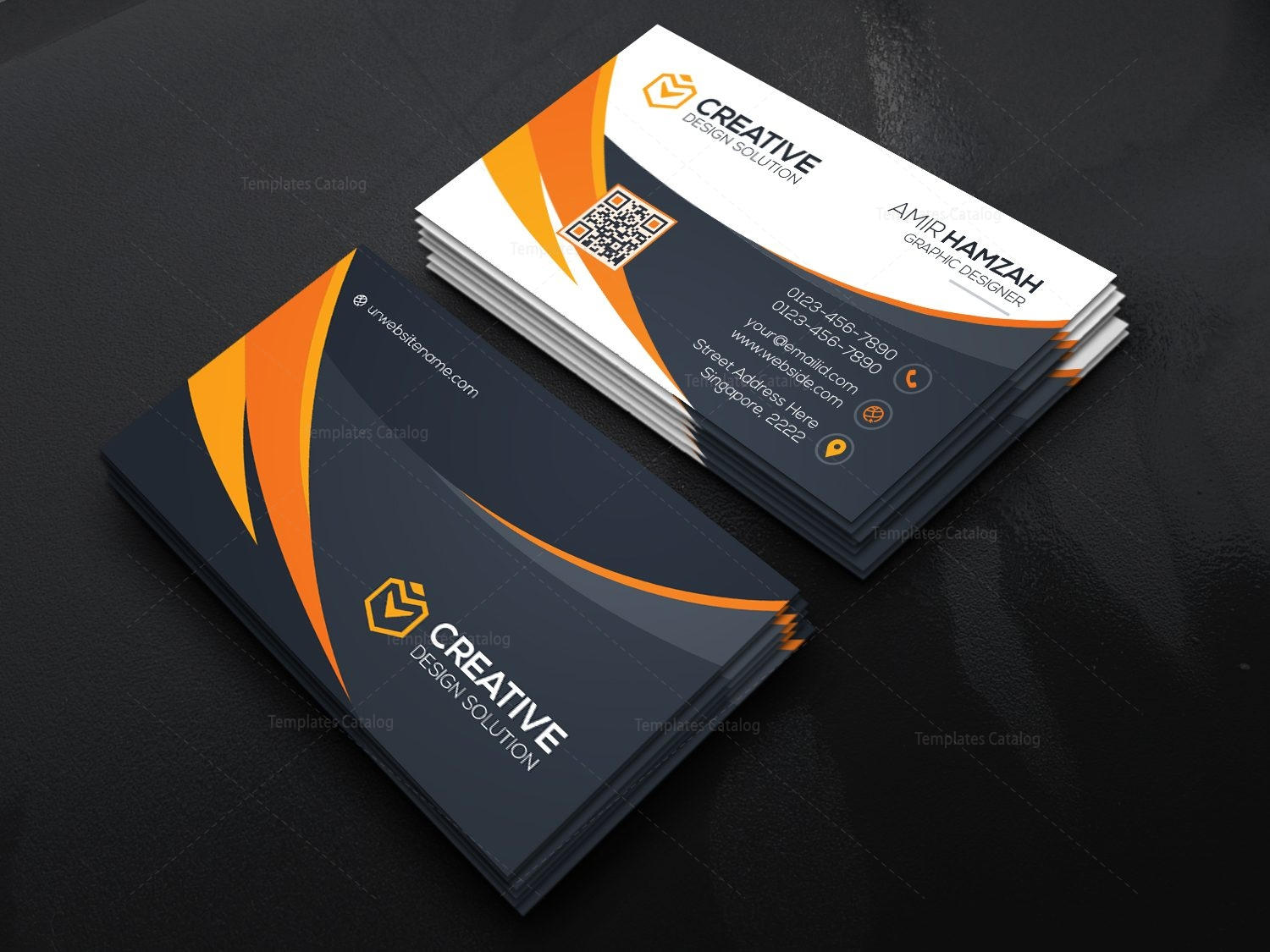 Stylish Business Card Template 000467 - Template Catalog