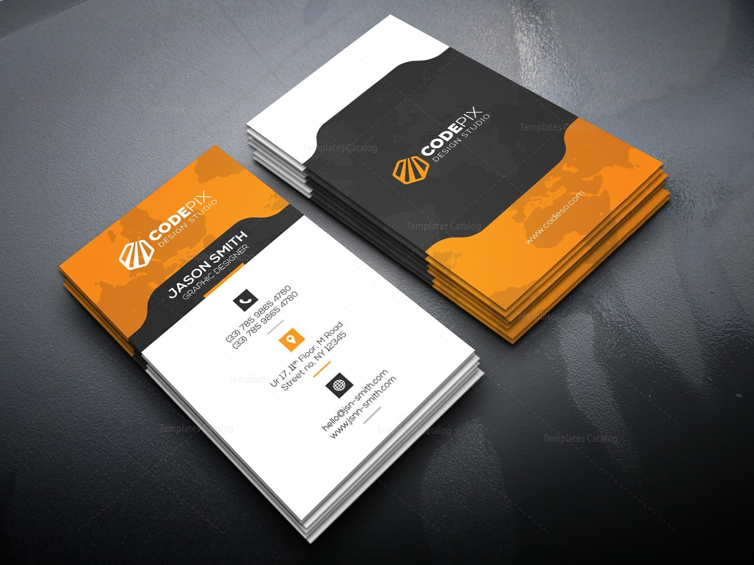 Vertical Business Card with Stylish Design 000521 - Template Catalog