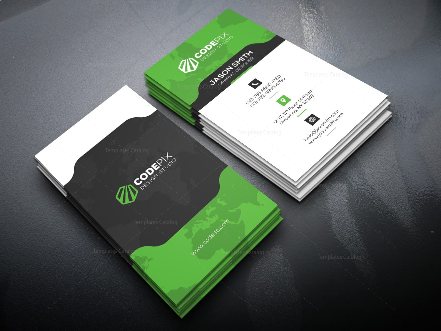 Vertical Business Card With Stylish Design Template Catalog - Business card vertical template