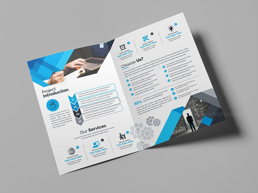 Blue corporate bi fold brochure template 000710 template for Corporate bi fold brochure template