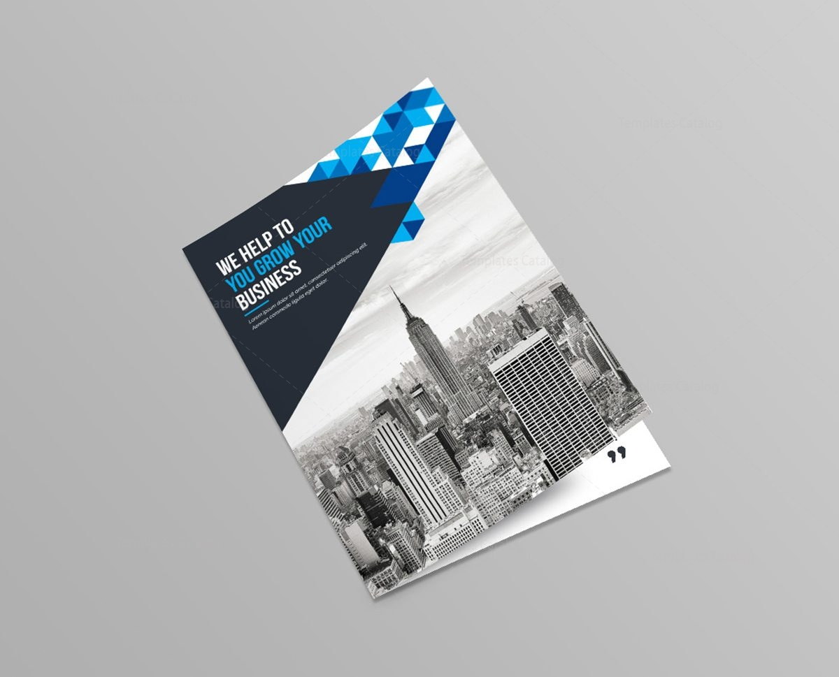 blue diamond bi fold brochure template 1