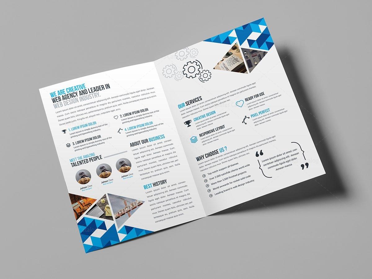 foldable brochure template - blue diamond bi fold brochure template 000721 template