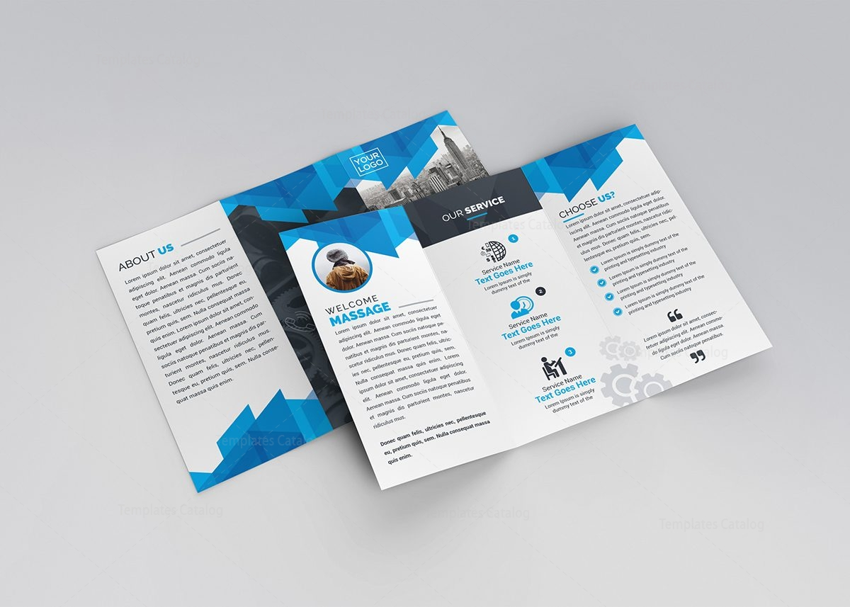 Blue stylish tri fold brochure template 000734 template for Brochure templates tri fold