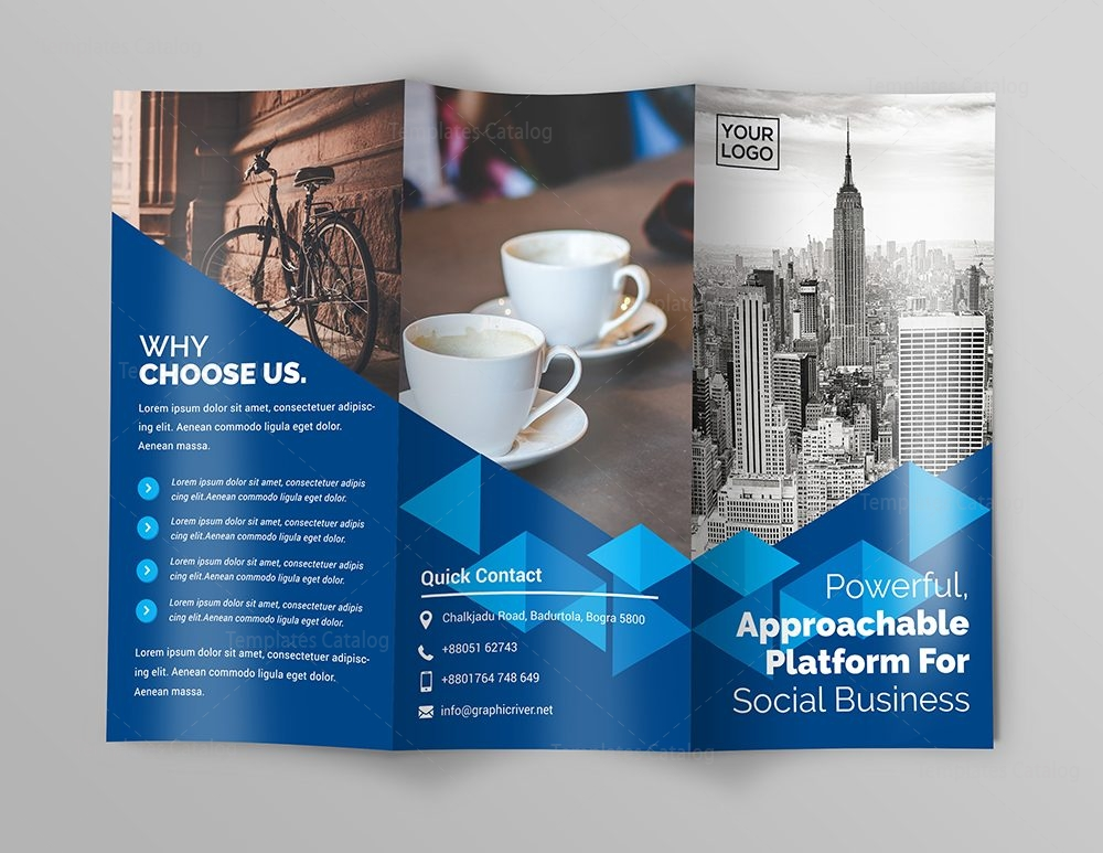 Business Premium TriFold Brochure Template Template Catalog - Fold brochure template