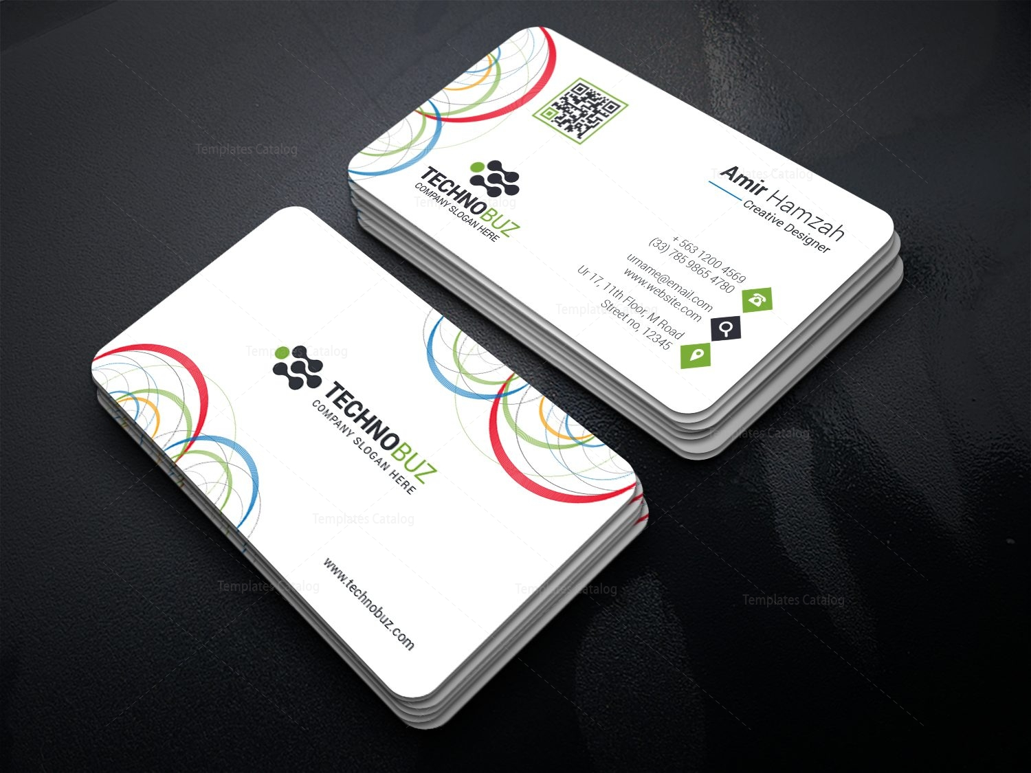 Circle premium business card template 000812 template catalog circle premium business card template 1 wajeb