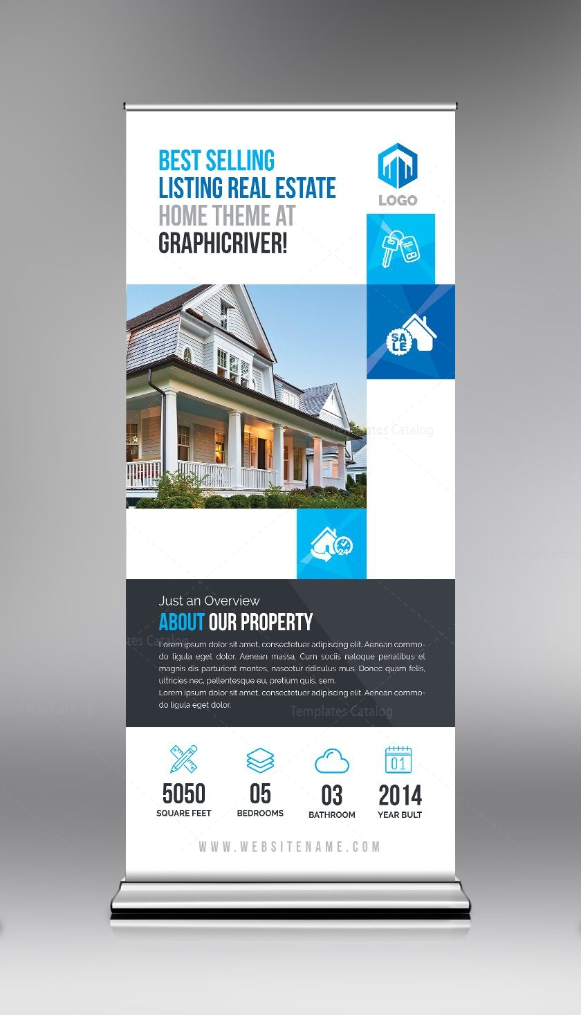 Elegant Real Estate Roll Up Banner Template 000694 - Template Catalog