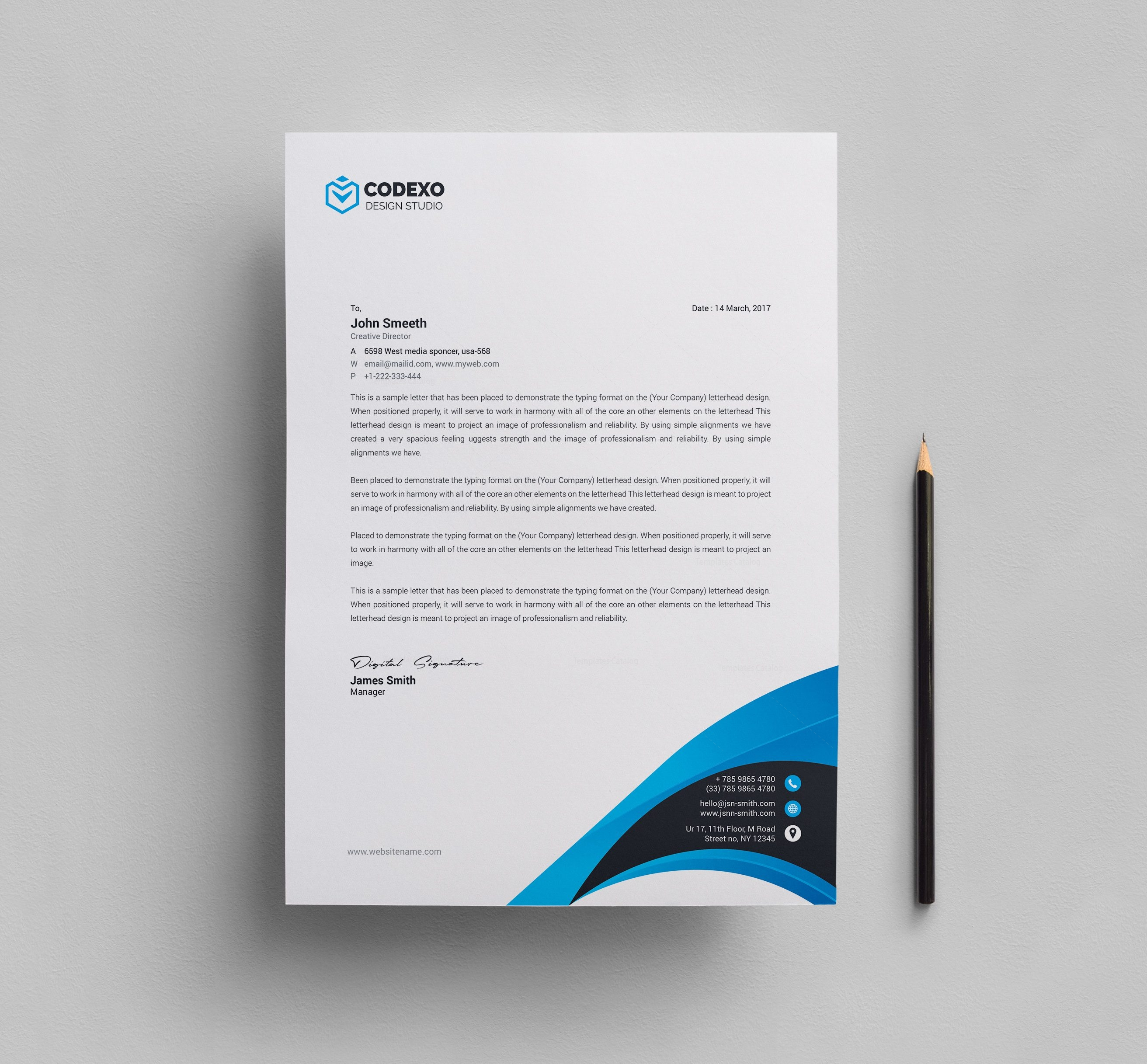 modern modern abstract letterhead design with green color