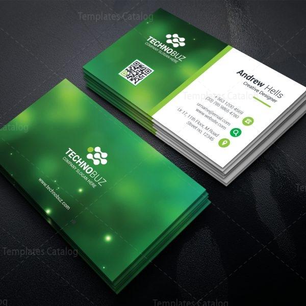 green technology business card template 000756 template