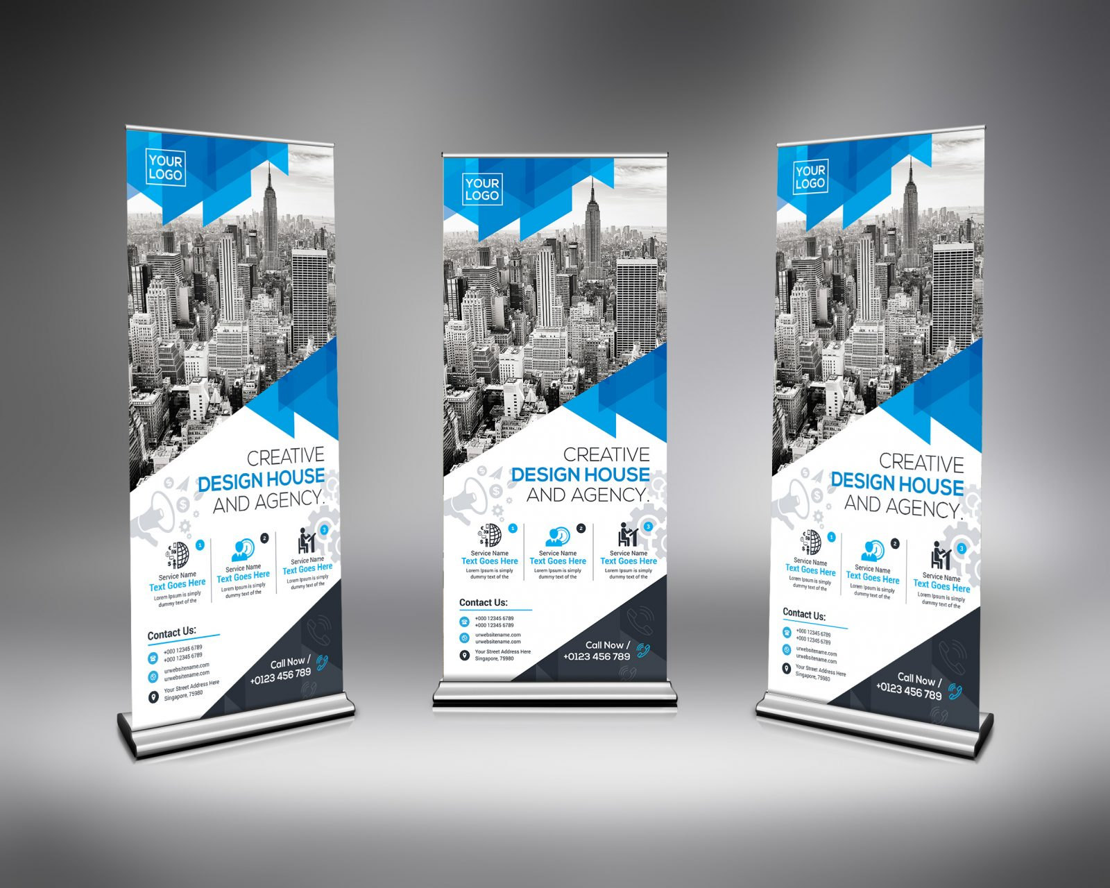 high quality roll-up banner template 000634
