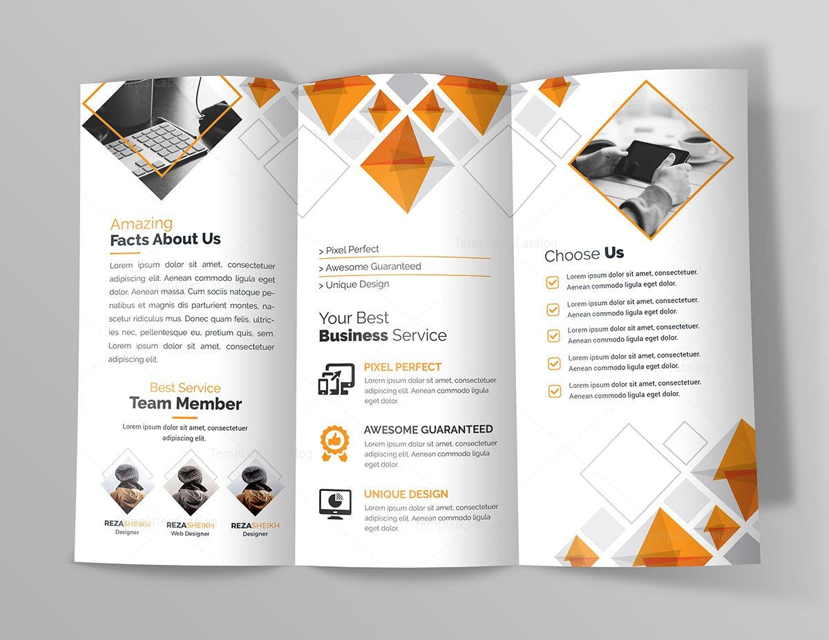 Indigo Corporate TriFold Brochure Template Template Catalog - 5 fold brochure template