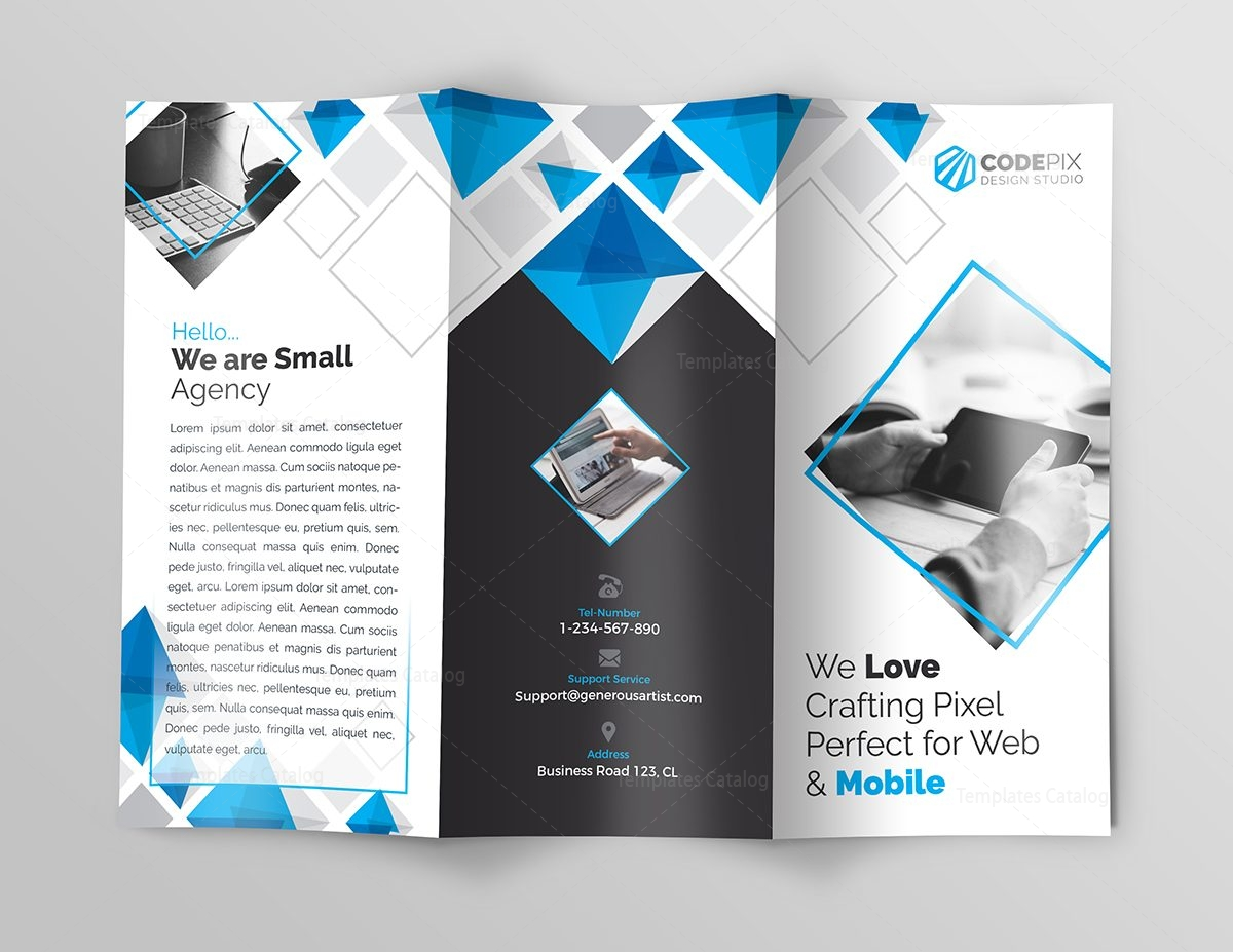 Indigo corporate tri fold brochure template 000777 for Corporate tri fold brochure template
