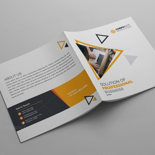 Iris Plain Corporate Bi Fold Brochure Template 000800 Template Catalog