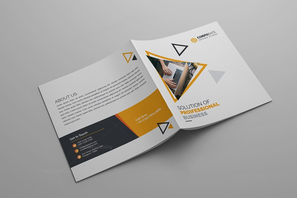 Iris Plain Corporate Bi Fold Brochure Template 000800 Template Catalog