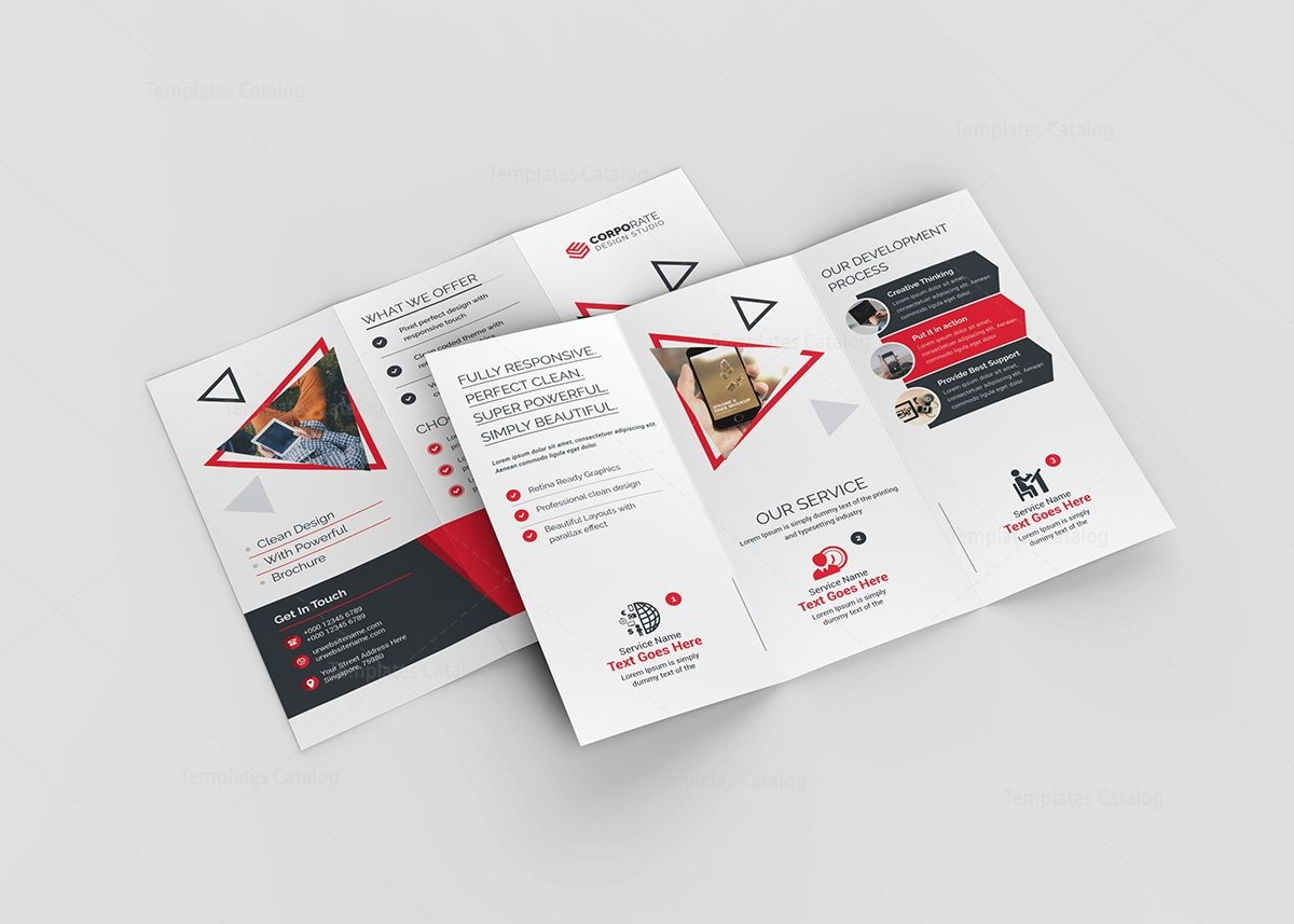 Lotus corporate tri fold brochure template 000774 for Corporate tri fold brochure template