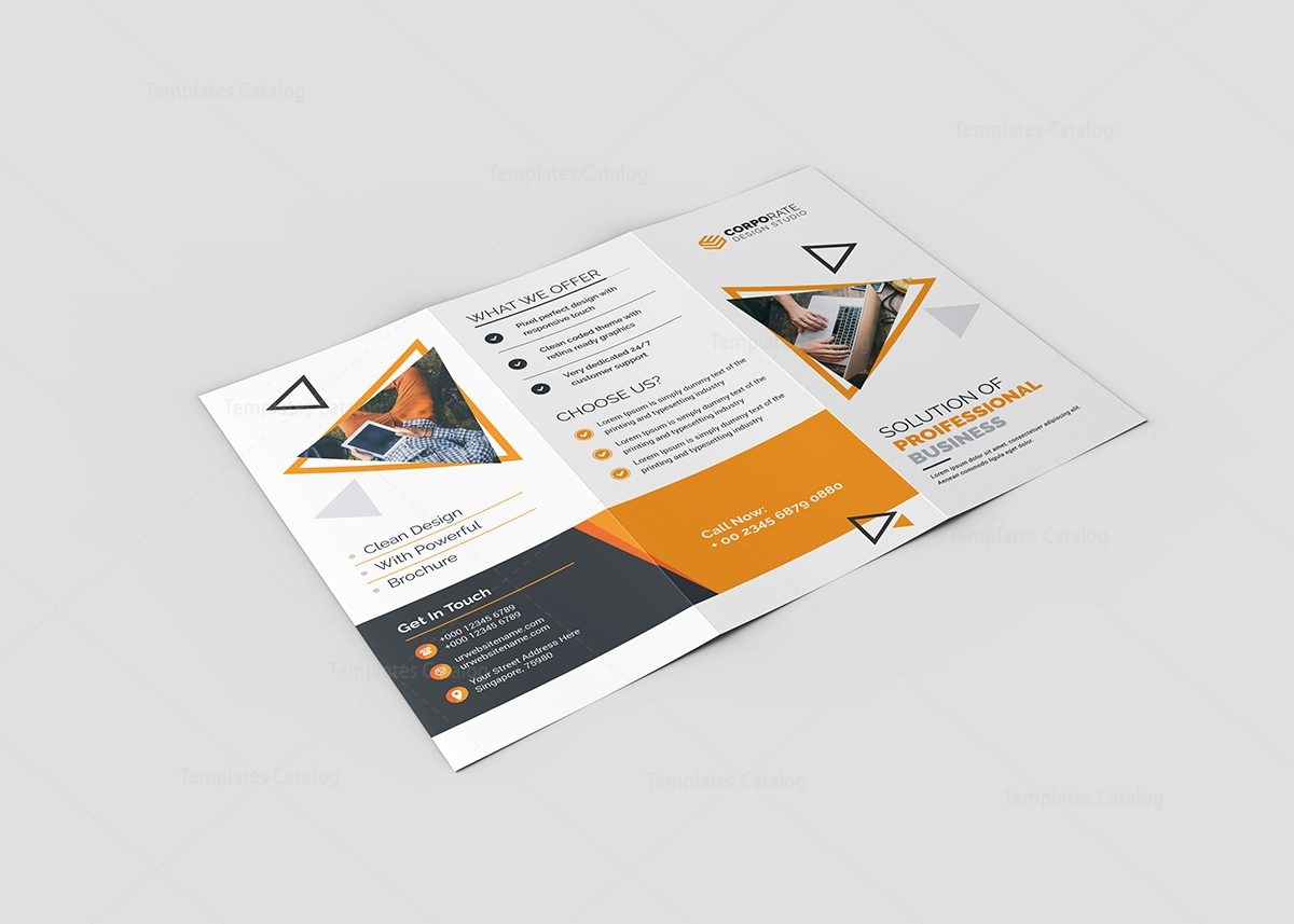 Lotus Corporate TriFold Brochure Template Template Catalog - Four fold brochure template