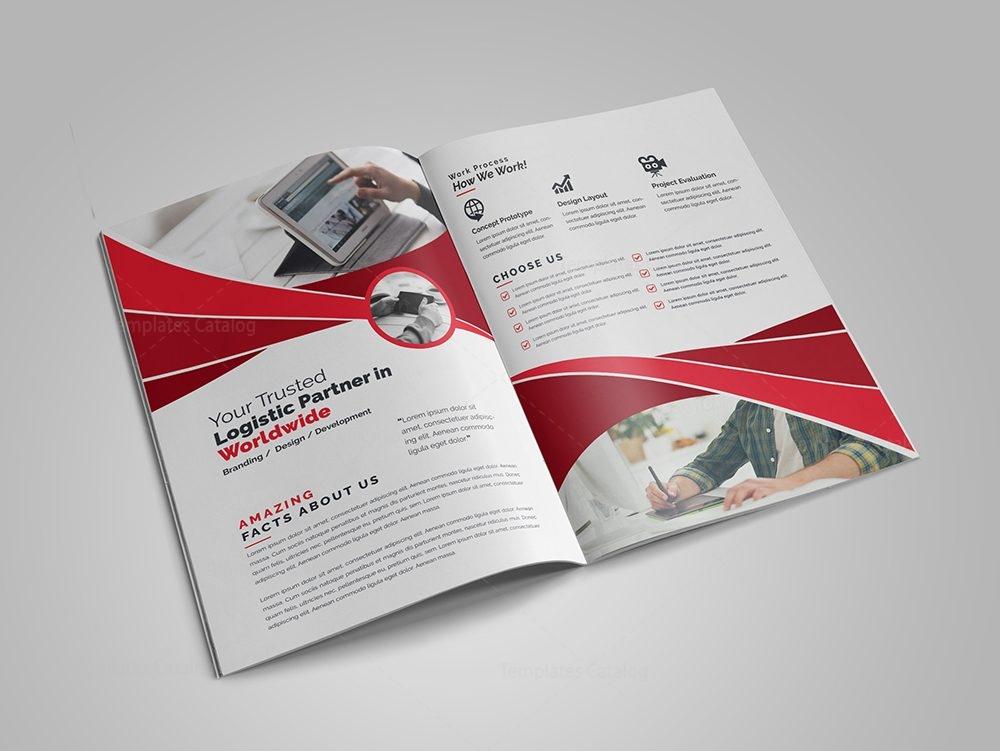 Modern business bi fold brochure design template 000729 for Two fold brochure design