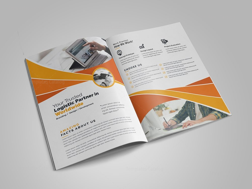 modern business bi fold brochure design template 5