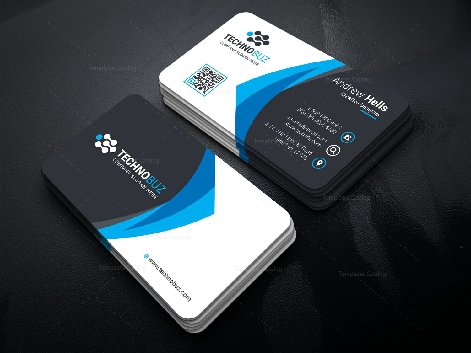 modern premium business card template 000738 template