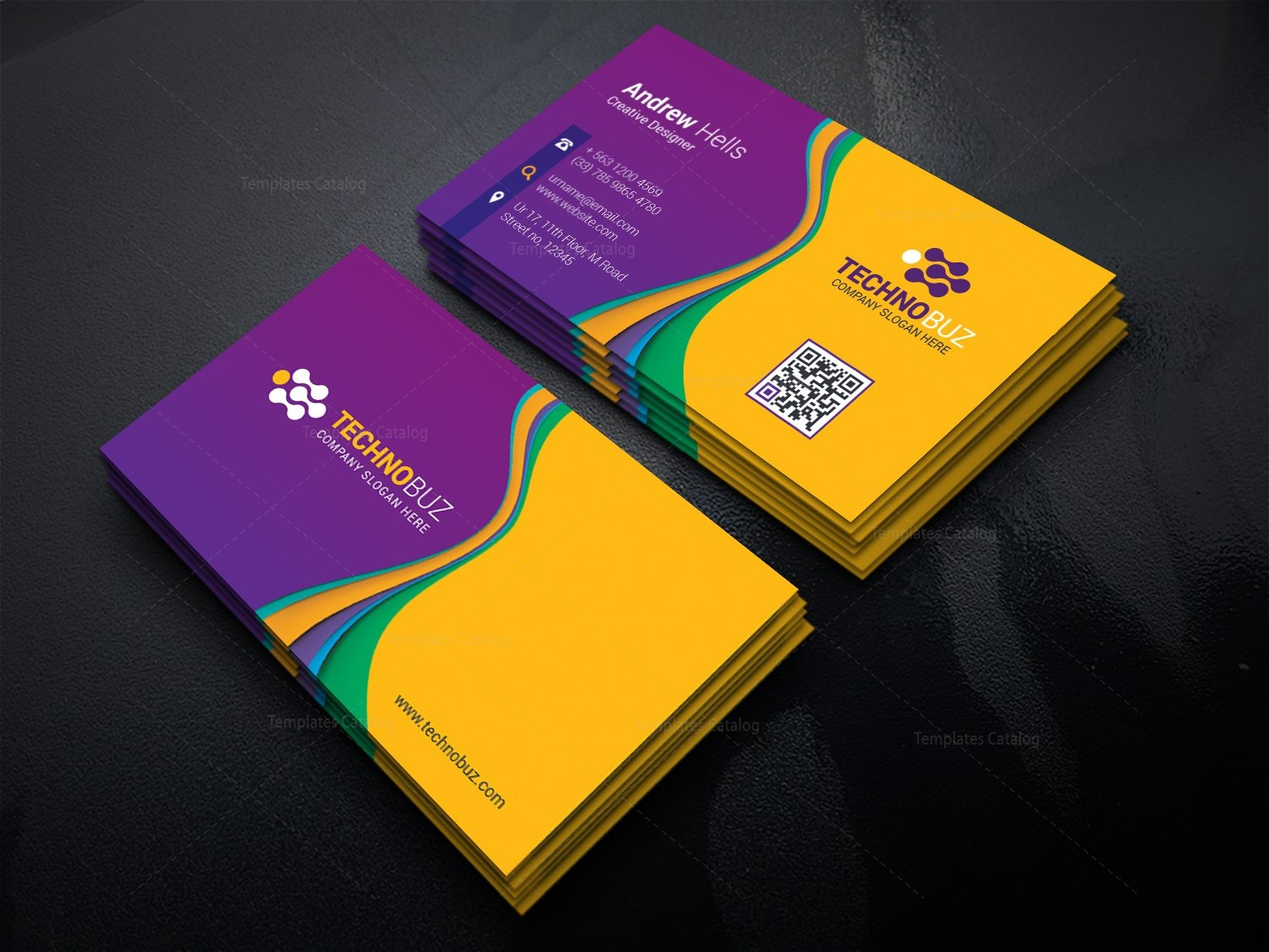 Polaris Modern Business Card Template 000770 - Template Catalog