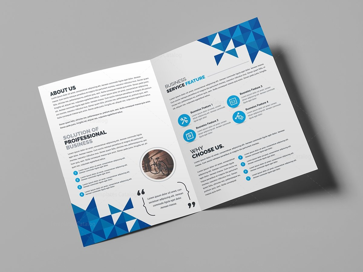 Premium corporate bi fold brochure template 000711 for Folded brochure template