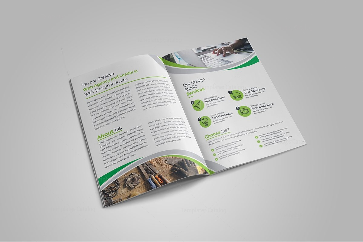 Premium elegant bi fold brochure design 000714 template for Elegant brochure templates