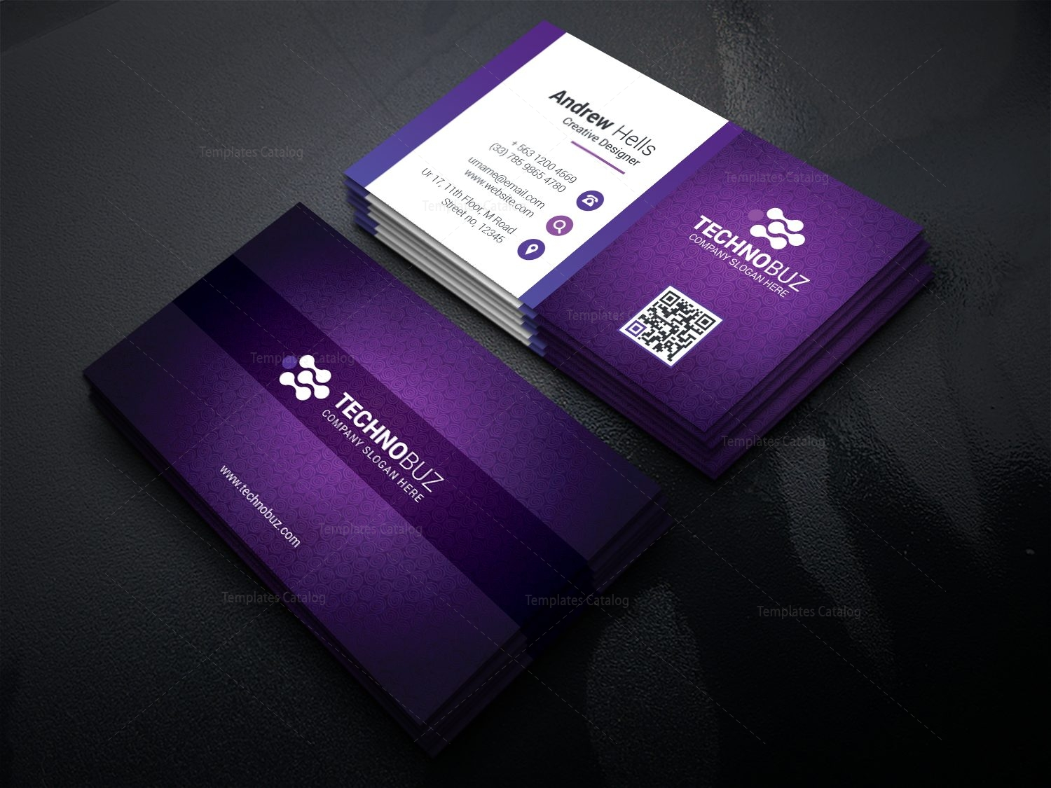 Purple modern business card template 000766 template catalog purple modern business card template accmission Images
