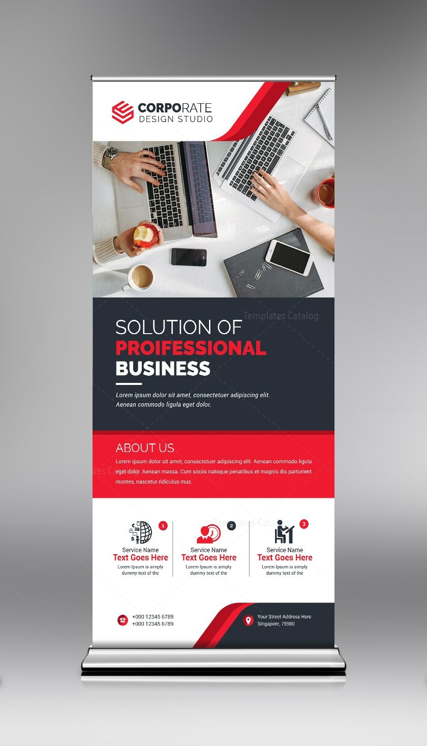 Roll Up Banner Template with Elegant Design 000685 - Template Catalog