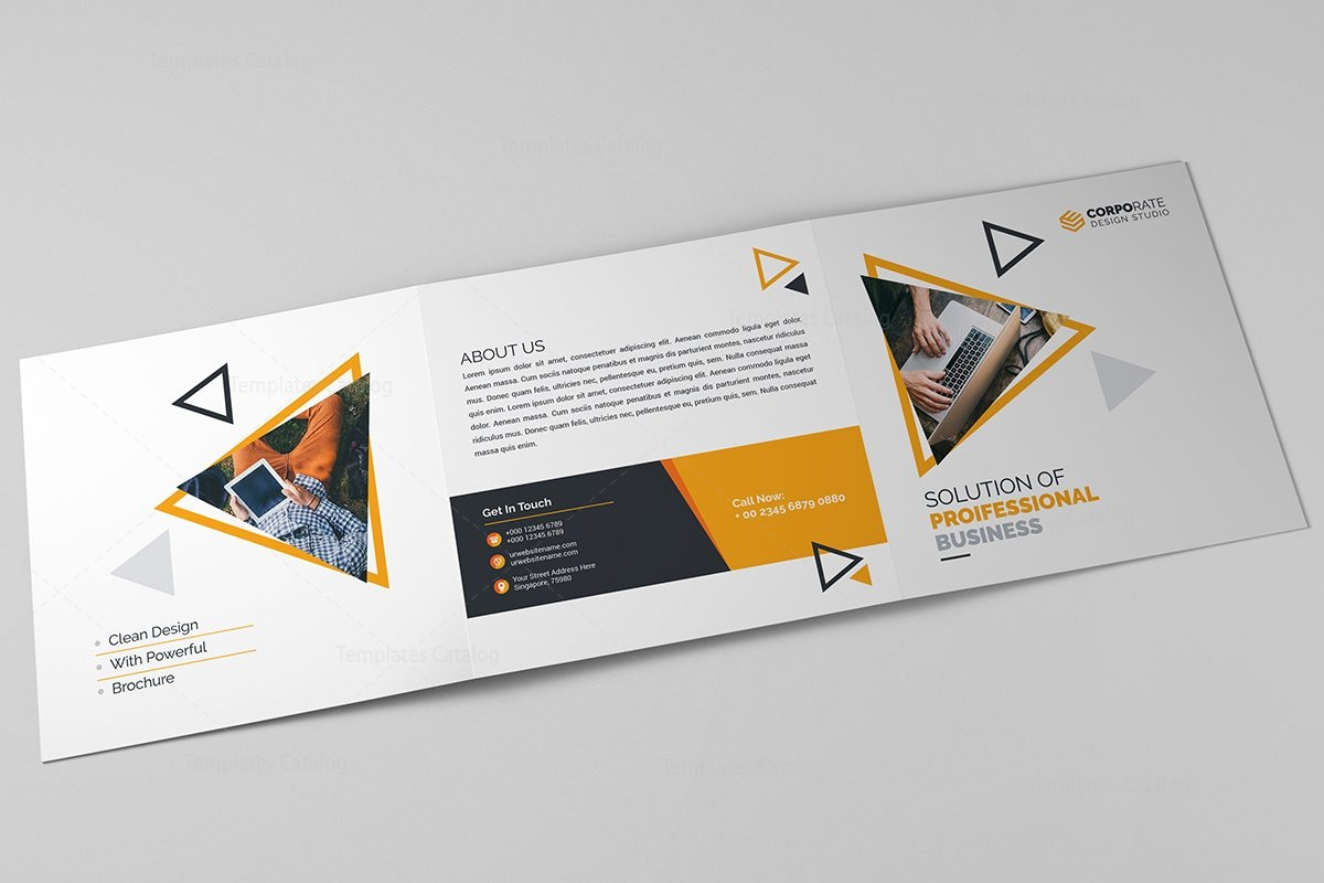 corporate brochure templates - spectrum corporate tri fold brochure template 000670