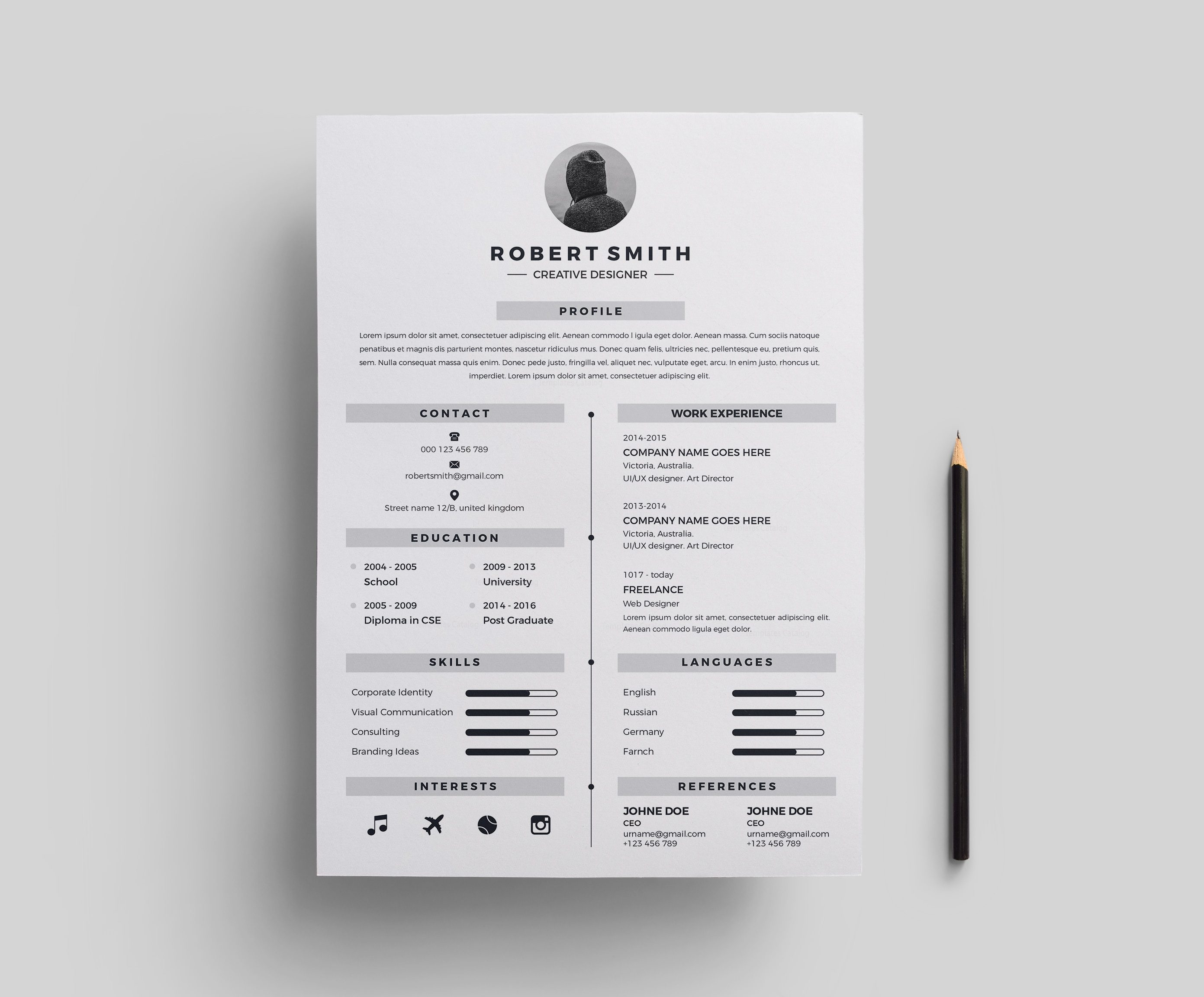 Star Stylish Resume Template 000696 - Template Catalog