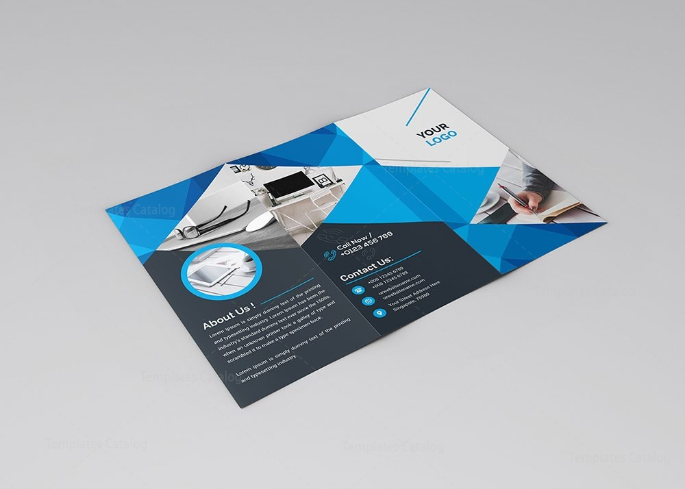 Stylish clean tri fold brochure template 000748 template for Templates for tri fold brochures