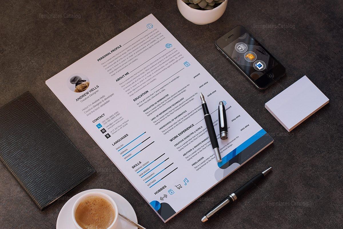 Stylish Professional Resume Template 000698 - Template Catalog