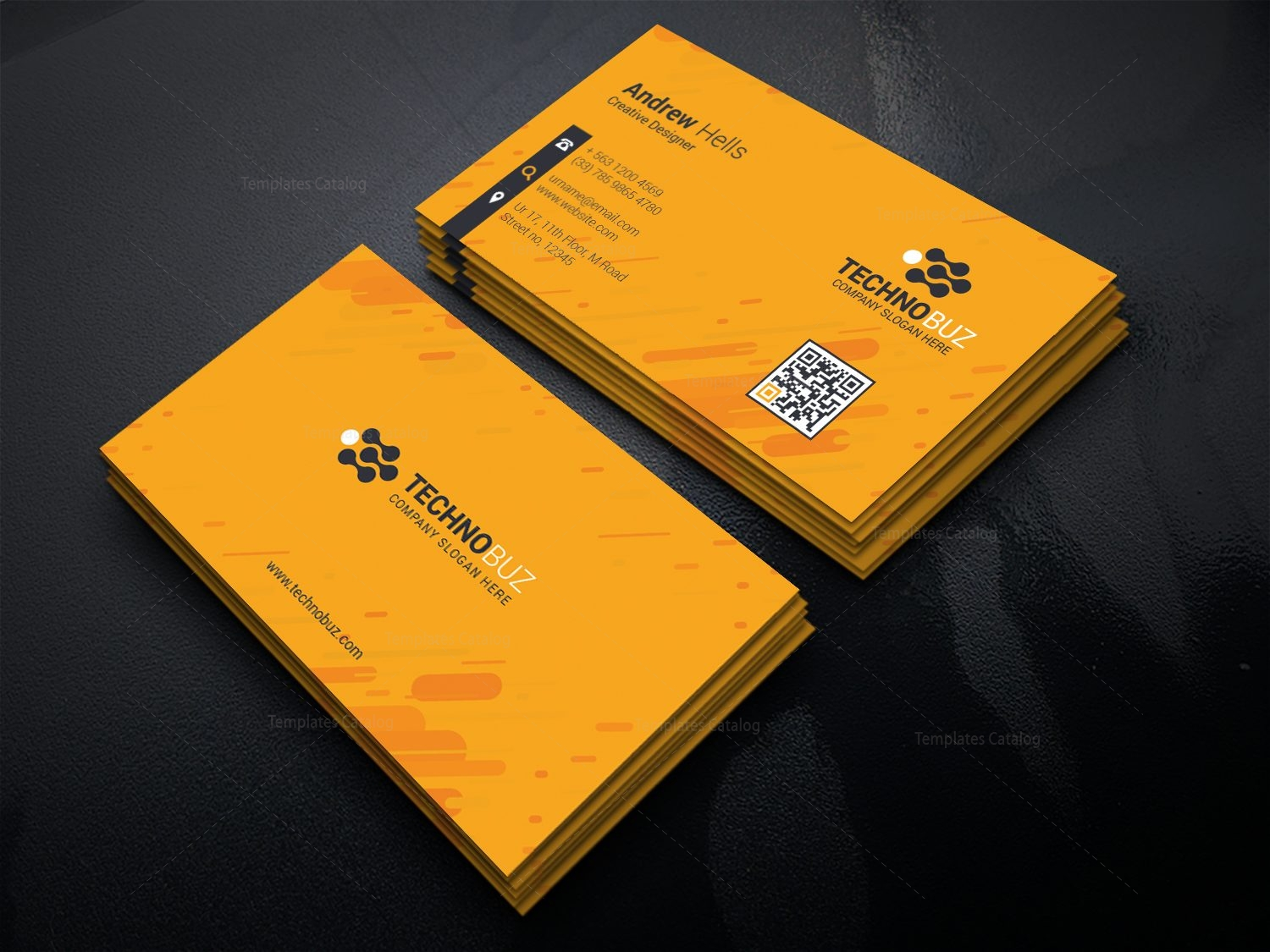 yellow corporate business card template 000768 template