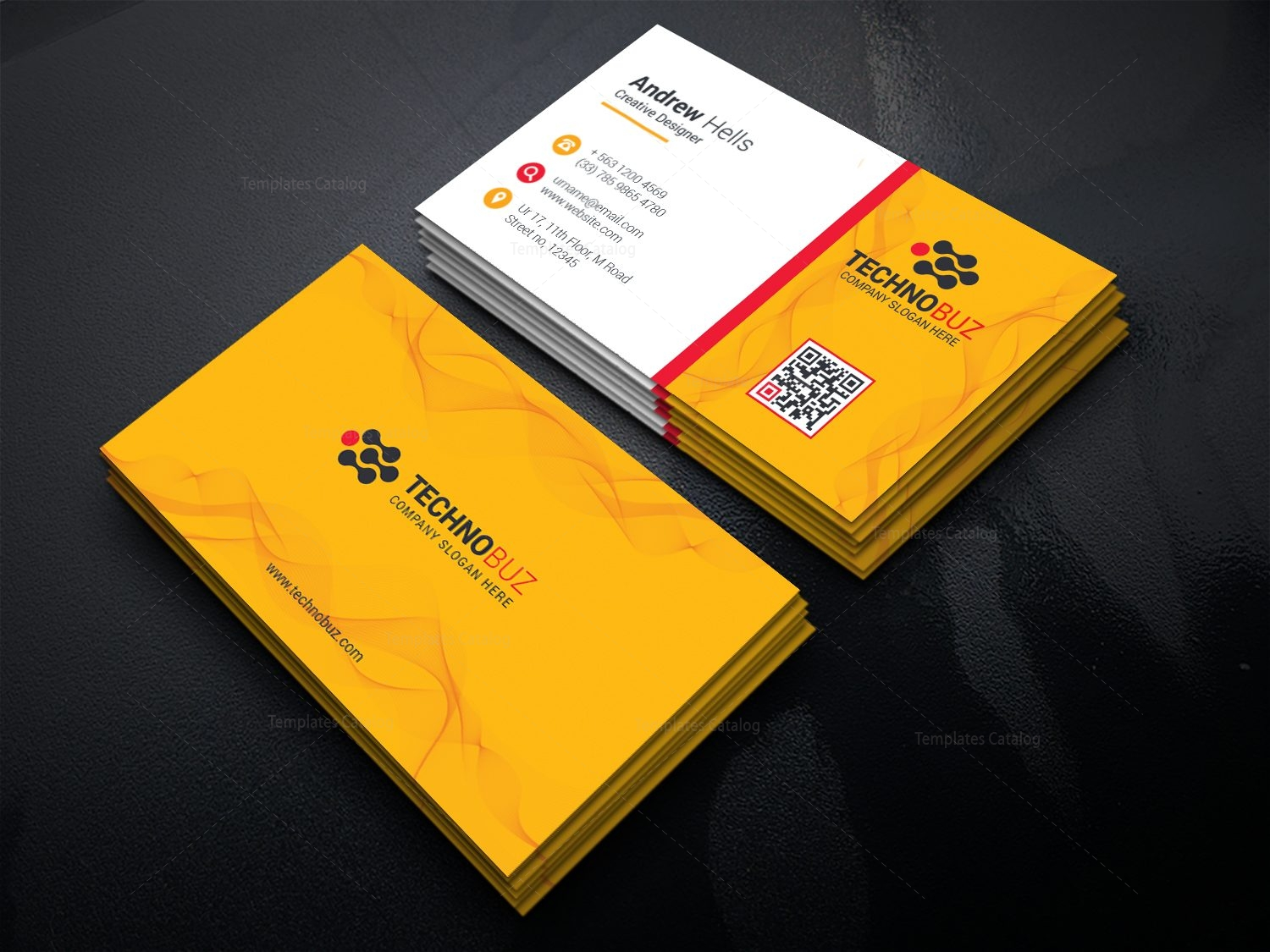 Yellow elegant business card template 000778 template catalog yellow elegant business card template 2 fbccfo Image collections