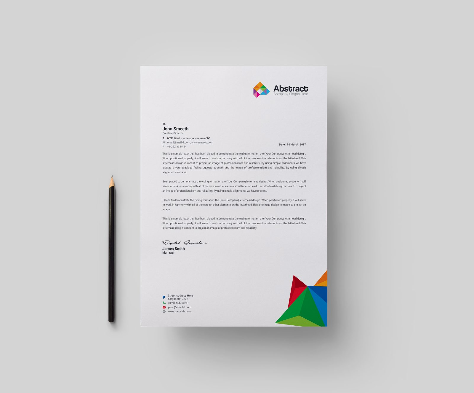 abstract modern corporate letterhead template 000878