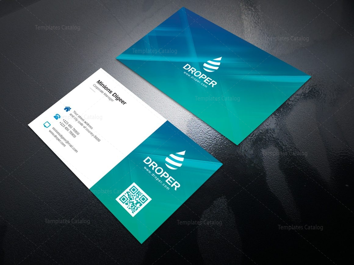Aqua Professional Corporate Business Card Template 000950 - Template ...