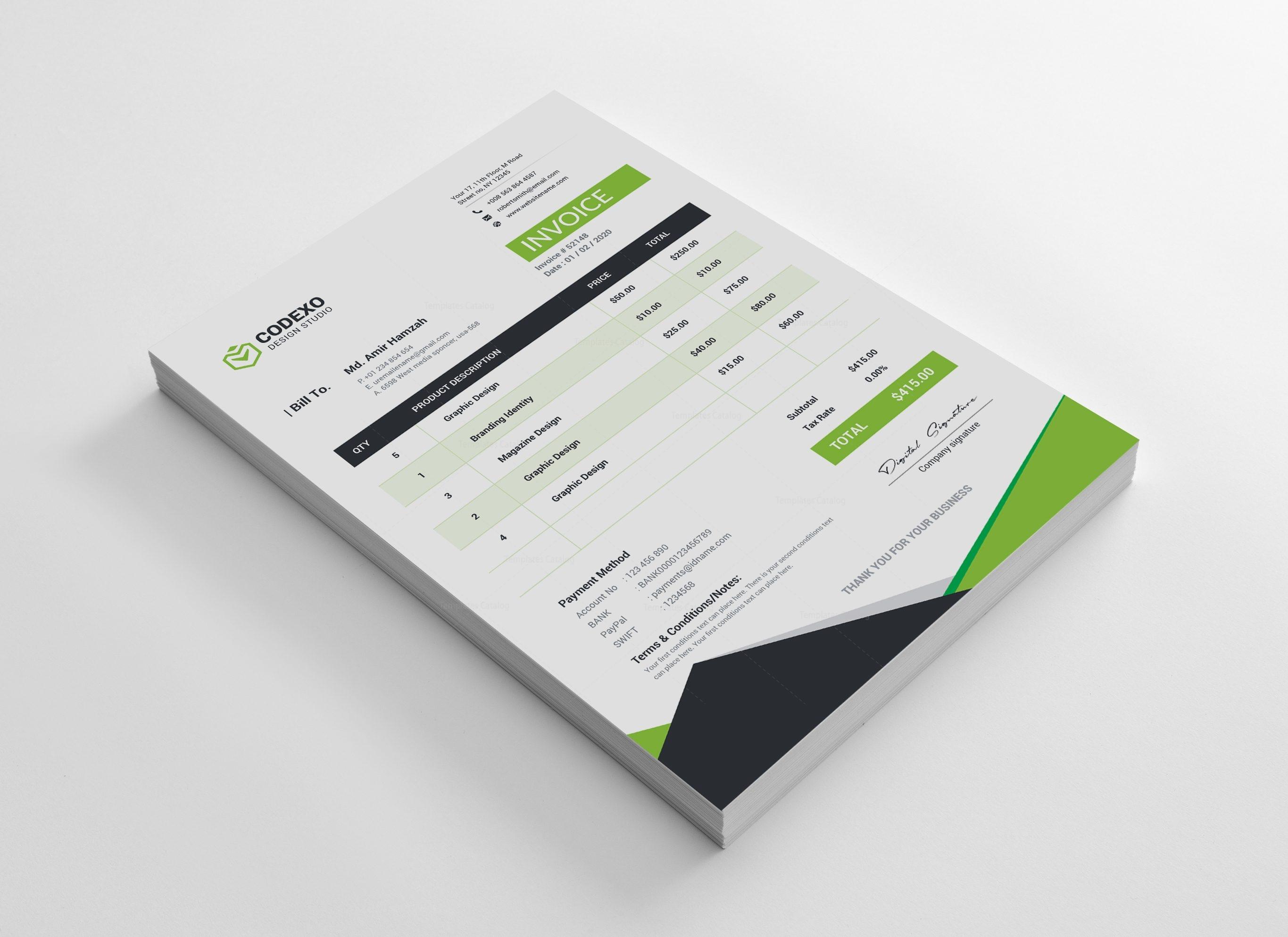 Atlas Premium Corporate Invoice Template 000827 - Template Catalog