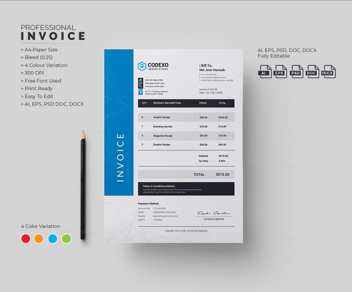 Atom Professional Corporate Invoice Template Template Catalog - Corporate invoice template