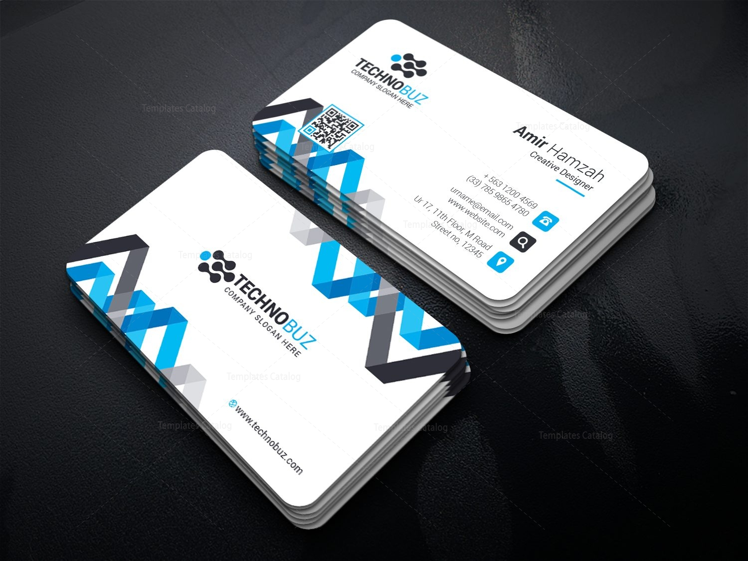 Chevron Elegant Corporate Business Card Template 000820 - Template ...