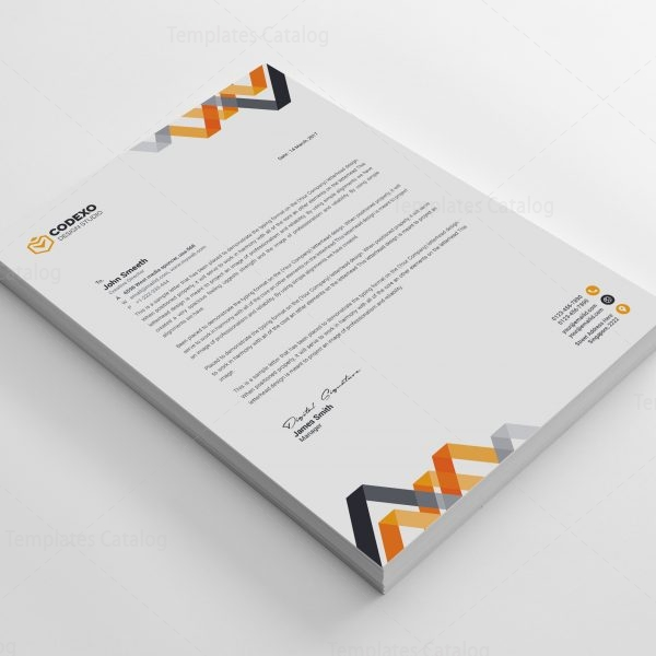 Chevron Professional Corporate Letterhead Template   Template