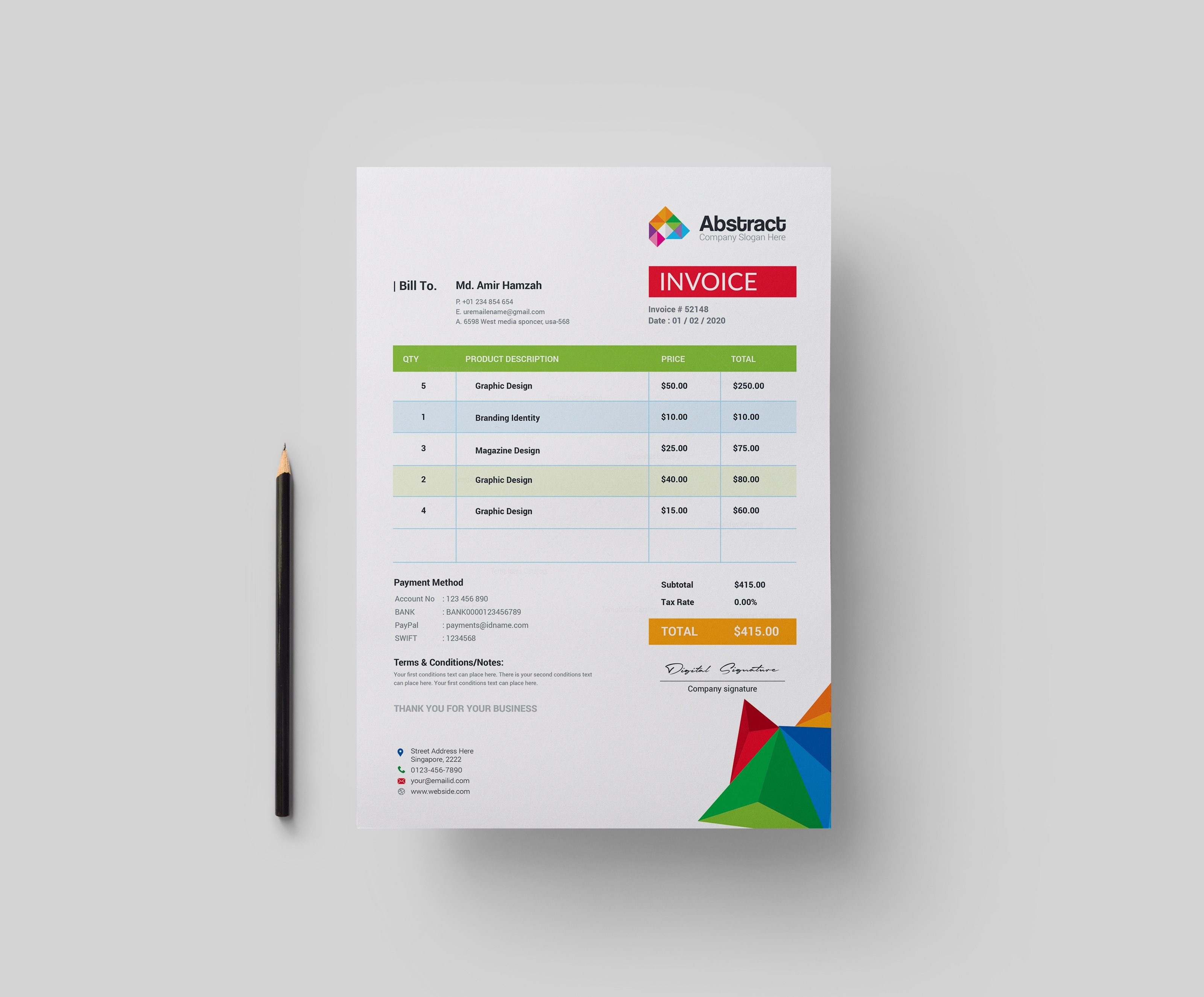 Colorful Professional Corporate Invoice Template