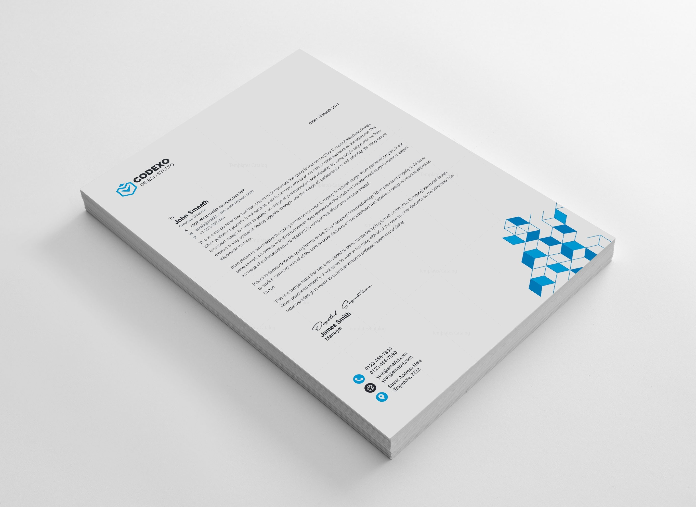 cubes modern corporate letterhead template 000879 template catalog
