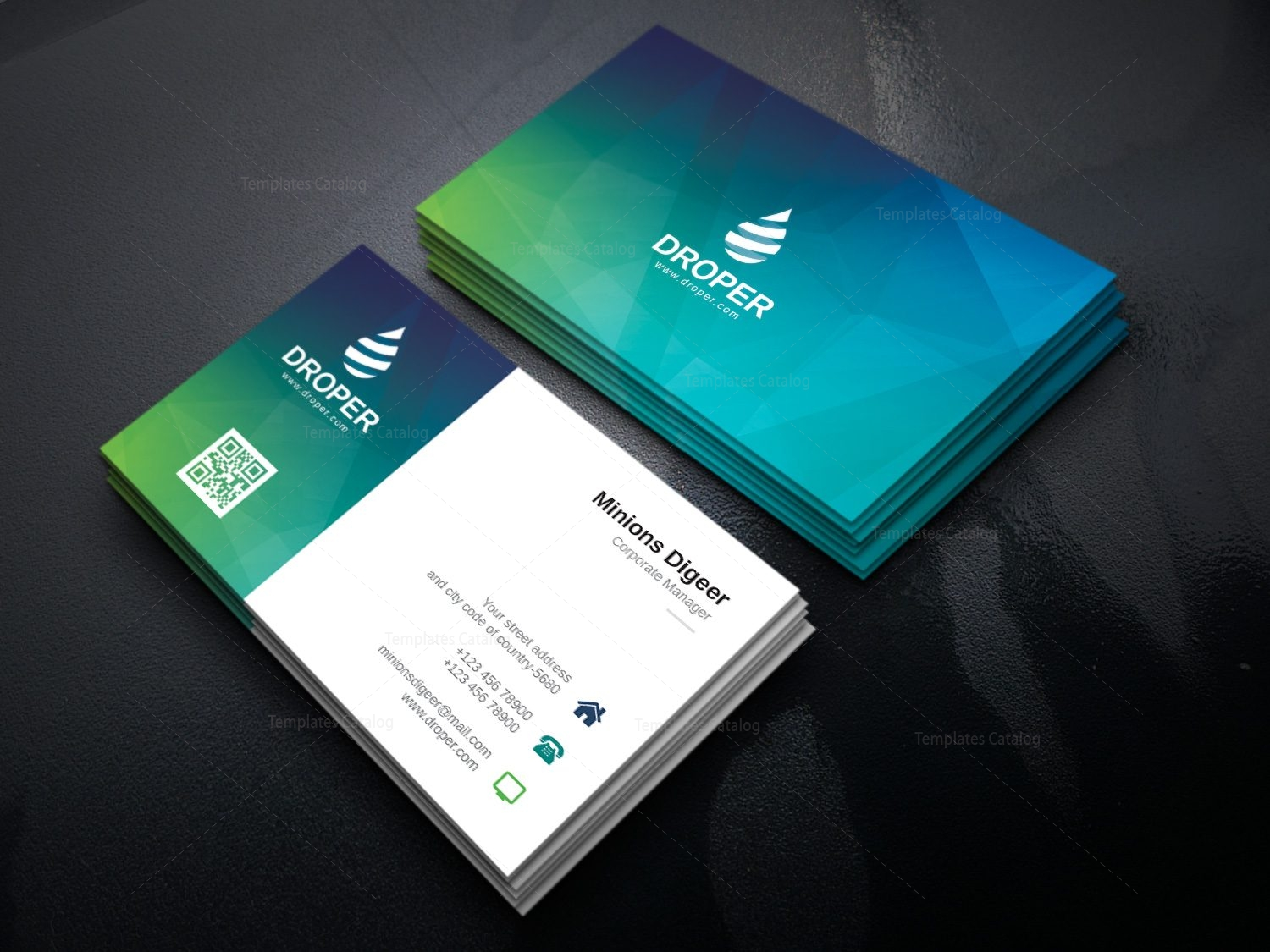 Dolphin modern corporate business card template 000924 template dolphin modern corporate business card template 3 flashek Image collections