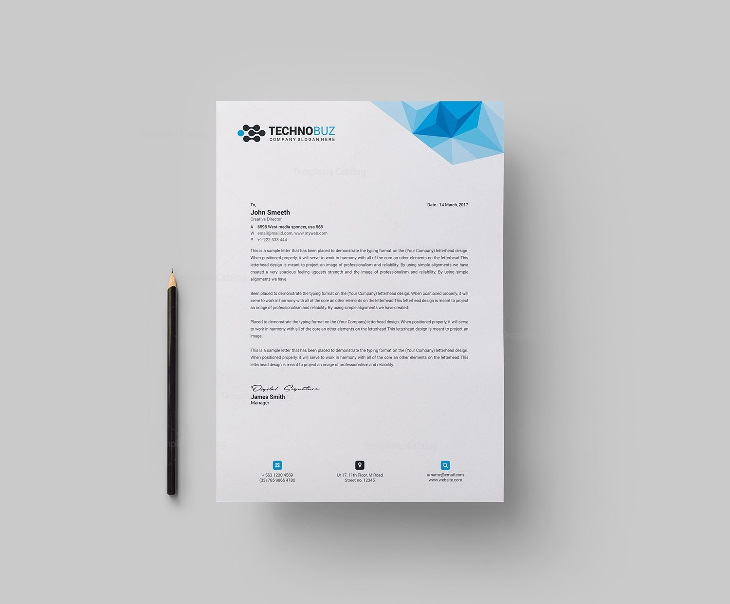Echo Professional Corporate Letterhead Template 000910