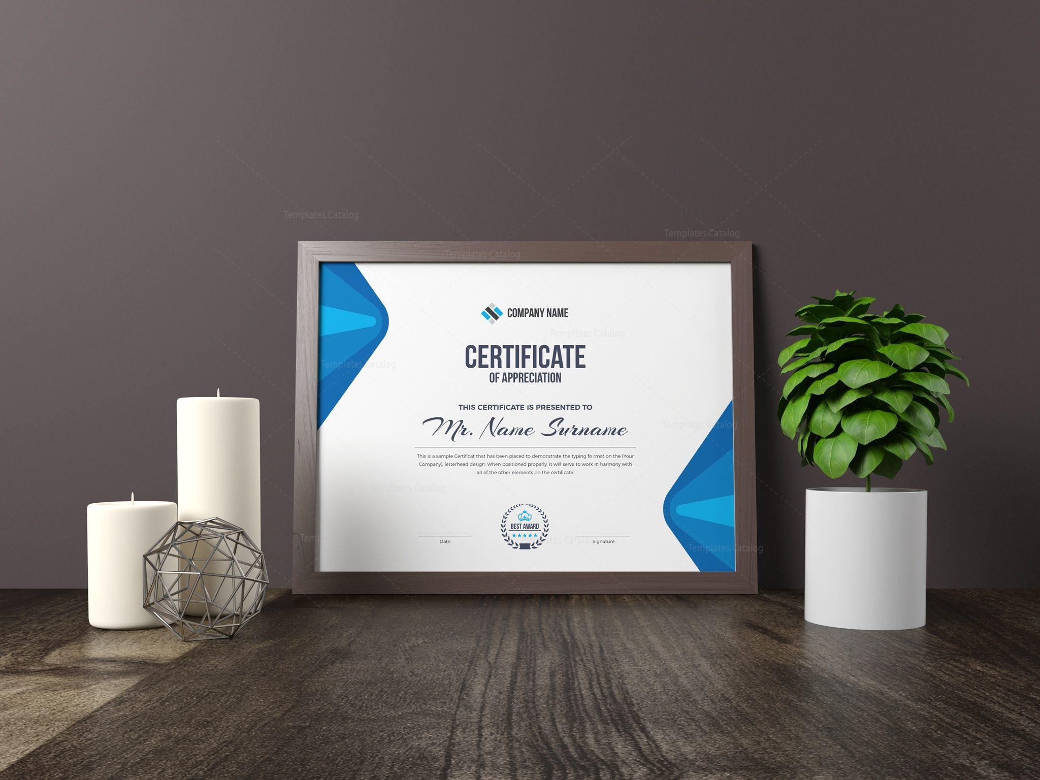 elegant corporate certificate template 000853 template