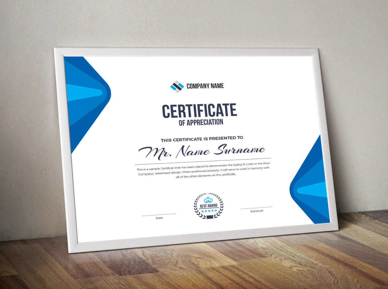 elegant corporate certificate template 000853 template