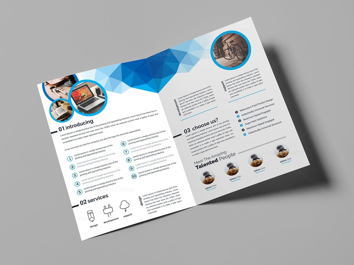 Genesis stylish bi fold brochure template 000850 for Two fold brochure design