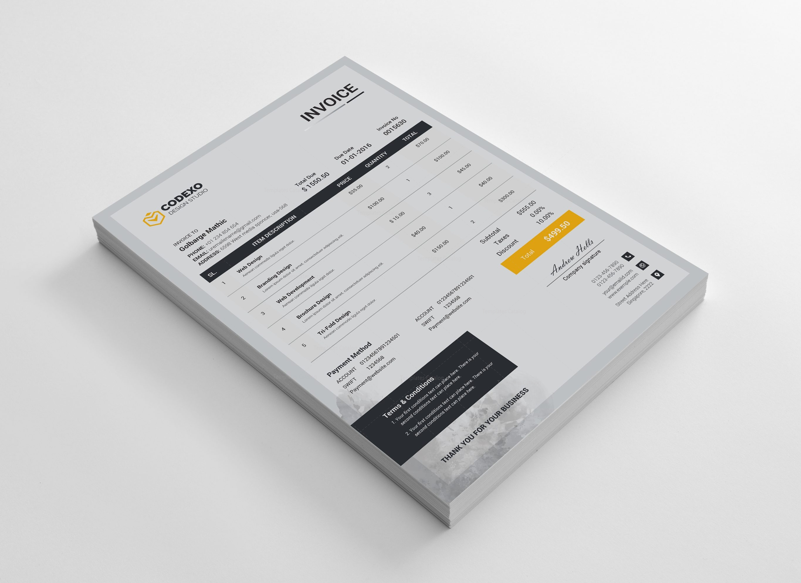Gray Stylish Corporate Invoice Template 000893 - Template Catalog