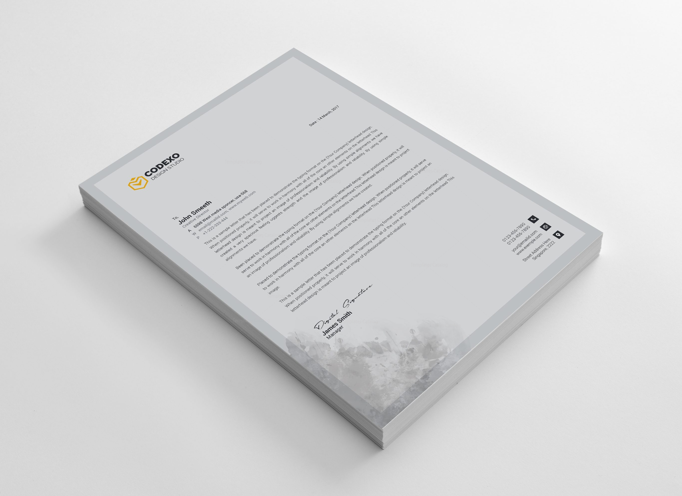 business letter format email%0A Gray Stylish Corporate Letterhead Template         Template Catalog